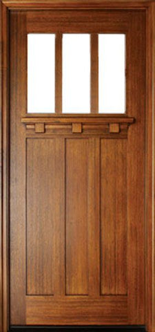 WDMA 36x96 Door (3ft by 8ft) Exterior Swing Mahogany Tuscany 3 Lite Single Door 1