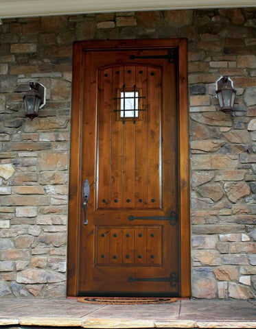 WDMA 36x96 Door (3ft by 8ft) Exterior Swing Mahogany or Knotty Alder Briarcliff Single Door w Speakeasy 3