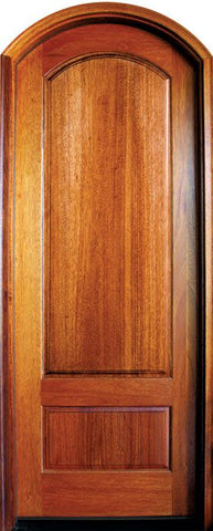 WDMA 36x96 Door (3ft by 8ft) Exterior Swing Mahogany Tiffany Solid Panel Single Door/Arch Top 1