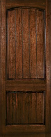 WDMA 36x96 Door (3ft by 8ft) Exterior Mahogany 36in x 96in Arch 2 Panel V-Grooved DoorCraft Door 1