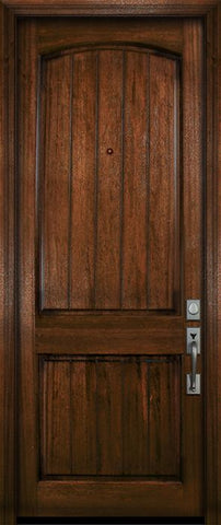 WDMA 36x96 Door (3ft by 8ft) Exterior Mahogany 36in x 96in Arch 2 Panel V-Grooved DoorCraft Door 2