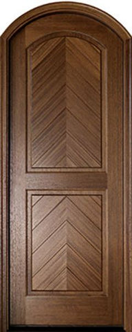 WDMA 36x96 Door (3ft by 8ft) Exterior Swing Mahogany Manchester Solid Panel Arched Single Door/Arch Top 1