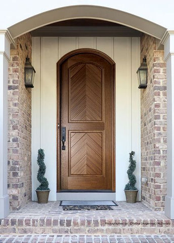 WDMA 36x96 Door (3ft by 8ft) Exterior Swing Mahogany Manchester Solid Panel Arched Single Door/Arch Top 2