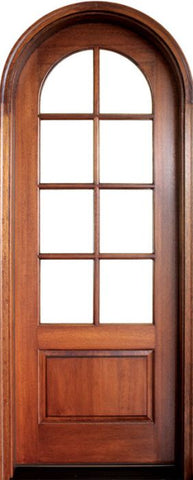 WDMA 36x96 Door (3ft by 8ft) French Swing Mahogany Pinehurst TDL 8 Lite Single Door/Round Top 1