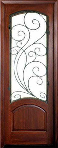 WDMA 36x96 Door (3ft by 8ft) Exterior Swing Mahogany Aberdeen Single Door w Redwood Iron 1