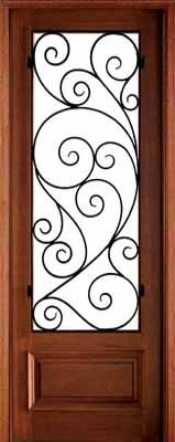 WDMA 36x96 Door (3ft by 8ft) Exterior Swing Mahogany Wakefield Single Door w Burlwood Iron 1
