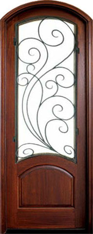 WDMA 36x96 Door (3ft by 8ft) Exterior Swing Mahogany Aberdeen Single Door/Arch Top w Redwood Iron 1
