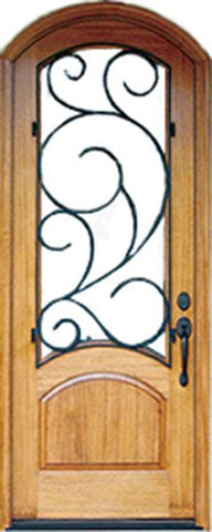 WDMA 36x96 Door (3ft by 8ft) Exterior Swing Mahogany 96in Aberdeen Single Door/Arch Top w Burlwood Iron 1