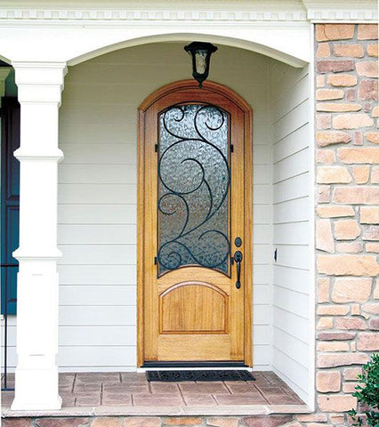 WDMA 36x96 Door (3ft by 8ft) Exterior Swing Mahogany 96in Aberdeen Single Door/Arch Top w Burlwood Iron 2
