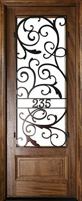 WDMA 36x96 Door (3ft by 8ft) Exterior Swing Mahogany Wakefield Single Door w Iron #2 1
