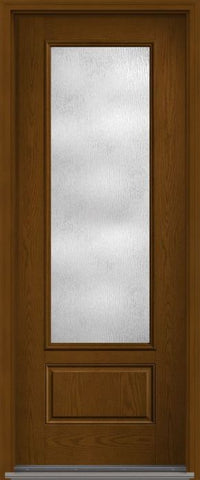 WDMA 36x96 Door (3ft by 8ft) Patio Oak Rainglass 8ft 3/4 Lite 1 Panel Fiberglass Single Exterior Door HVHZ Impact 1