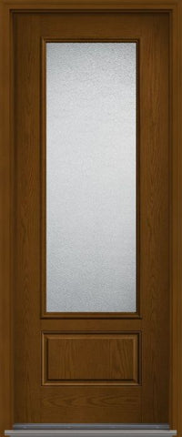 WDMA 36x96 Door (3ft by 8ft) Patio Oak Granite 8ft 3/4 Lite 1 Panel Fiberglass Single Exterior Door HVHZ Impact 1