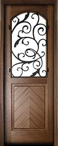 WDMA 36x96 Door (3ft by 8ft) Exterior Swing Mahogany Manchester Single Door w Iron #3 1
