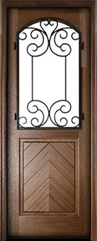 WDMA 36x96 Door (3ft by 8ft) Exterior Swing Mahogany Manchester Single Door w Iron #2 1