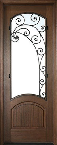 WDMA 36x96 Door (3ft by 8ft) Exterior Swing Mahogany Aberdeen Single Door w Iron #2 Right 1