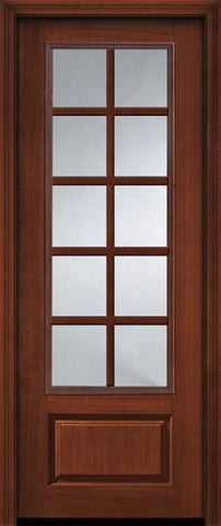 WDMA 36x96 Door (3ft by 8ft) French Cherry 96in 3/4 Lite 1 Panel 10 Lite SDL Door 1