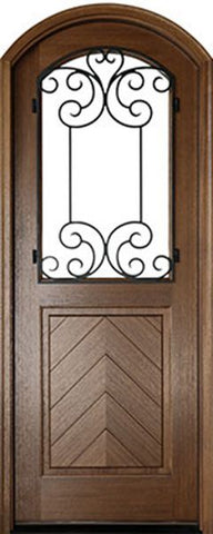 WDMA 36x96 Door (3ft by 8ft) Exterior Swing Mahogany Manchester Single Door/Arch Top w Iron #2 1