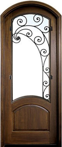 WDMA 36x96 Door (3ft by 8ft) Exterior Swing Mahogany Aberdeen Single Door/Arch Top w Iron #2 Right 1