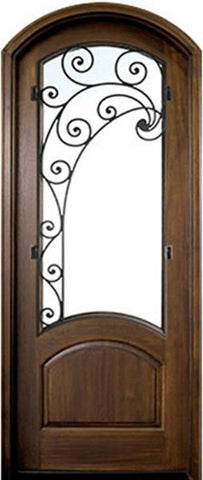 WDMA 36x96 Door (3ft by 8ft) Exterior Swing Mahogany Aberdeen Single Door/Arch Top w Iron #2 Left 1