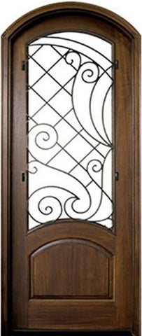 WDMA 36x96 Door (3ft by 8ft) Exterior Swing Mahogany Aberdeen Single Door/Arch Top w Iron #1 Right 1
