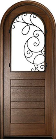 WDMA 36x96 Door (3ft by 8ft) Exterior Swing Mahogany Sicily Single Door/Round Top w Iron #2 1