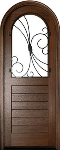 WDMA 36x96 Door (3ft by 8ft) Exterior Swing Mahogany Sicily Single Door/Round Top w Iron #1 1