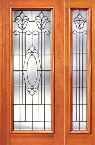 WDMA 38x80 Door (3ft2in by 6ft8in) Exterior Mahogany Single Door with One Sidelight Full Lite Twin Flower Design Glass 1