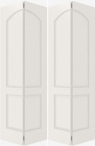 WDMA 40x80 Door (3ft4in by 6ft8in) Interior Bifold Smooth 2020 MDF 2 Panel Arch Panel Double Door 2