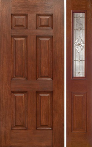 WDMA 42x80 Door (3ft6in by 6ft8in) Exterior Mahogany Six Panel Single Entry Door Sidelight 1/2 Lite w/ HM Glass 1