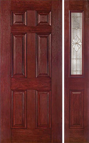 WDMA 42x80 Door (3ft6in by 6ft8in) Exterior Cherry Six Panel Single Entry Door Sidelight 1/2 Lite HM Glass 1