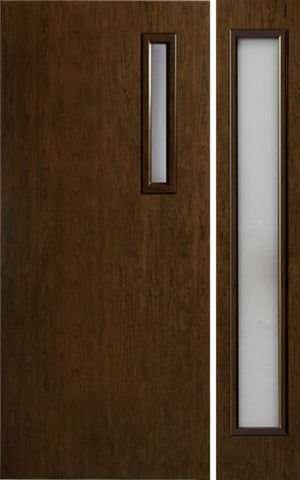 WDMA 42x80 Door (3ft6in by 6ft8in) Exterior Cherry Contemporary One Slim Vertical Lite Single Entry Door Sidelight 1
