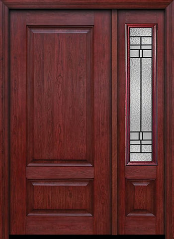 WDMA 42x80 Door (3ft6in by 6ft8in) Exterior Cherry Two Panel Single Entry Door Sidelight Pembrook Glass 1