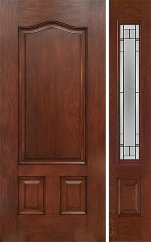WDMA 42x80 Door (3ft6in by 6ft8in) Exterior Mahogany Three Panel Single Entry Door Sidelight TP Glass 1