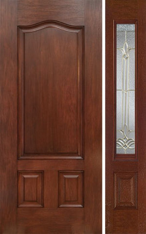WDMA 42x80 Door (3ft6in by 6ft8in) Exterior Mahogany Three Panel Single Entry Door Sidelight BT Glass 1