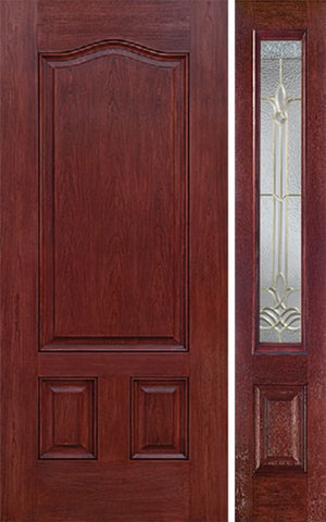 WDMA 42x80 Door (3ft6in by 6ft8in) Exterior Cherry Three Panel Single Entry Door Sidelight BT Glass 1