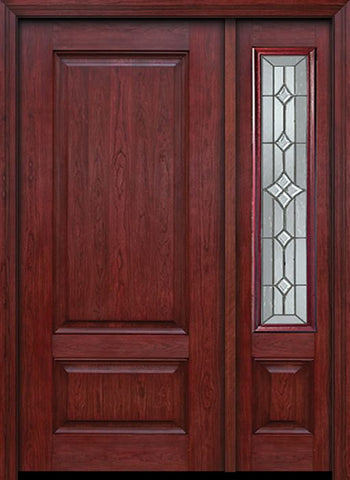 WDMA 42x80 Door (3ft6in by 6ft8in) Exterior Cherry Two Panel Single Entry Door Sidelight Windsor Glass 1