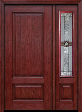 WDMA 42x80 Door (3ft6in by 6ft8in) Exterior Cherry Two Panel Single Entry Door Sidelight Mission Ridge Glass 1