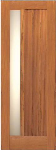 WDMA 42x80 Door (3ft6in by 6ft8in) Exterior Tropical Hardwood Single Door Modern Grooved Panel with Insulated Matte Glass 1