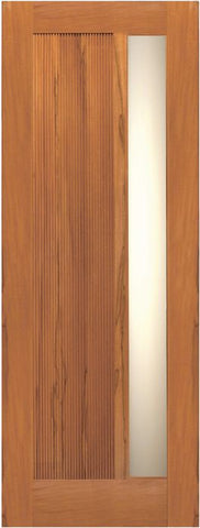WDMA 42x80 Door (3ft6in by 6ft8in) Exterior Tropical Hardwood Single Door Contemporary Grooved Panel with Insulated Matte Glass 1