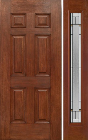 WDMA 42x80 Door (3ft6in by 6ft8in) Exterior Mahogany Six Panel Single Entry Door Sidelight Full Lite TP Glass 1