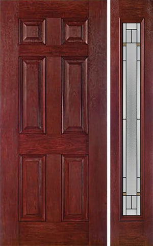 WDMA 42x80 Door (3ft6in by 6ft8in) Exterior Cherry Six Panel Single Entry Door Sidelight Full Lite TP Glass 1