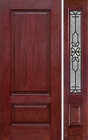 WDMA 42x80 Door (3ft6in by 6ft8in) Exterior Cherry Two Panel Single Entry Door Sidelight MD Glass 1
