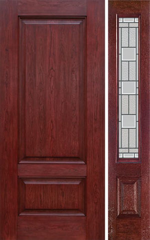 WDMA 42x80 Door (3ft6in by 6ft8in) Exterior Cherry Two Panel Single Entry Door Sidelight MO Glass 1