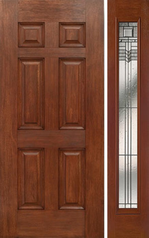WDMA 42x80 Door (3ft6in by 6ft8in) Exterior Mahogany Six Panel Single Entry Door Sidelight Full Lite KP Glass 1