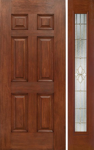 WDMA 42x80 Door (3ft6in by 6ft8in) Exterior Mahogany Six Panel Single Entry Door Sidelight Full Lite HM Glass 1