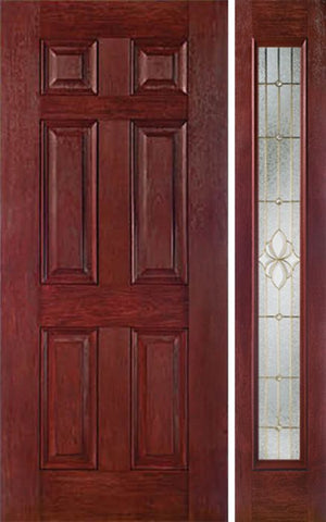 WDMA 42x80 Door (3ft6in by 6ft8in) Exterior Cherry Six Panel Single Entry Door Sidelight Full Lite HM Glass 1