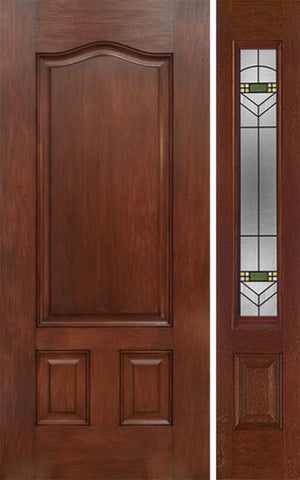 WDMA 42x80 Door (3ft6in by 6ft8in) Exterior Mahogany Three Panel Single Entry Door Sidelight GR Glass 1