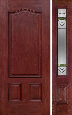 WDMA 42x80 Door (3ft6in by 6ft8in) Exterior Cherry Three Panel Single Entry Door Sidelight GR Glass 1