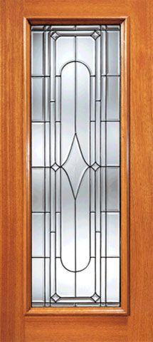 WDMA 42x80 Door (3ft6in by 6ft8in) Exterior Mahogany Art Deco Beveled Glass Entry Door Triple Glazed Glass Option 1