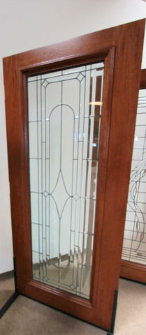 WDMA 42x80 Door (3ft6in by 6ft8in) Exterior Mahogany Art Deco Beveled Glass Entry Door Triple Glazed Glass Option 2